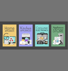 electronic household appliances set cards vector image