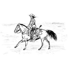 Fast mustachioed cowboy vector