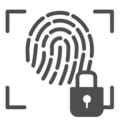 Fingerprint and lock solid icon fingerprint vector