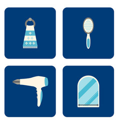 Flat bathroom icons set on blue background vector