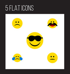 flat icon face set of sad cold sweat happy and vector image