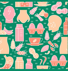 food sensitivity seamless pattern in colored line vector image