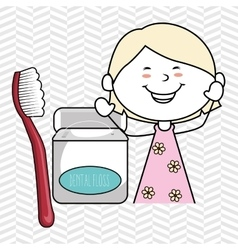 Girl with dental floss isolated icon design vector