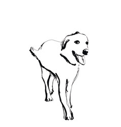 hand drawn dog sketch monochrome logo vector image