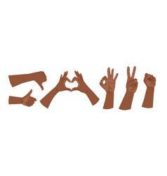 Hand gestures hands human gestures set different vector
