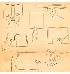 Hands with a book vector image