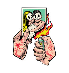 hands with tattoo burning polaroid photos i vector image