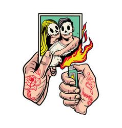 Hands with tattoo burning polaroid photos i vector