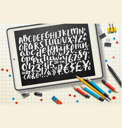 handwritten brush letters symbols numbers vector image