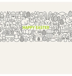 Happy Easter Line Art Icons Seamless Web Banner vector