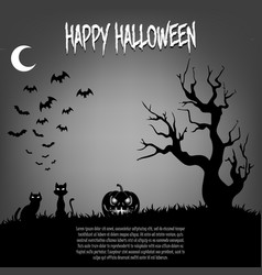 happy halloween pumpkins and cat vector image