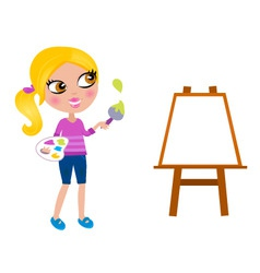 Happy little painter girl vector