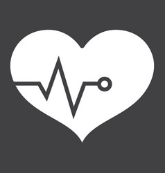 heart pulse glyph icon fitness and sport vector image