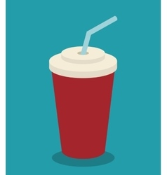 icon soda plastic cup straw design vector image