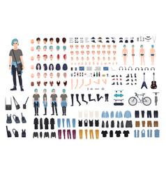 informal teenager character constructor punk vector image