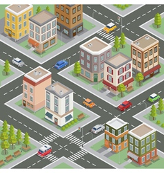 Isometric City Cityscape Buildings Houses vector image