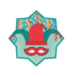 Jester hat with mask and cofetti inside star vector