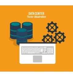 Laptop and gears icon Data center design vector