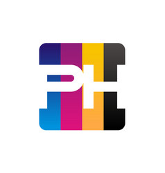 letter ph print hub vector image