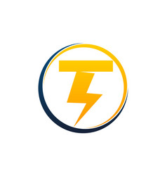Letter t bolt fast vector
