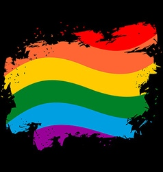 Lgbt flag grunge style brush strokes and ink vector