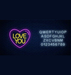 love you text in heart shape with alphabet in vector image