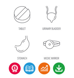 Medical mirror tablet and stomach organ icons vector