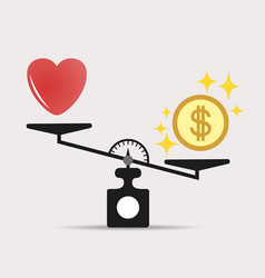 Money weights over the heart scales vector