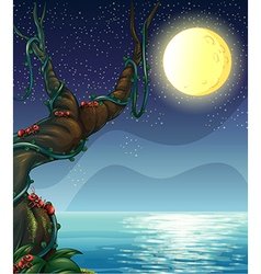 Moonlight Riverside Scene vector
