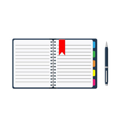 notepad and paper sheets with bookmarks and pen vector image