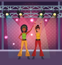 People and disco cartoons vector