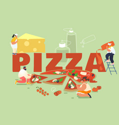 people baking and eating huge pizza male and vector image