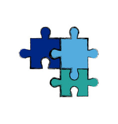 Puzzle jigsaw pieces strategy business vector