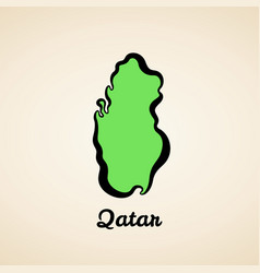 Qatar - outline map vector