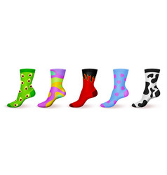 Realistic ornamented socks patterned colored vector