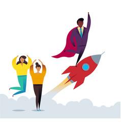 rocket business startup concept flat vector image