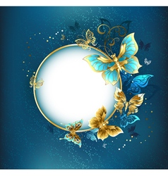 Round Banner with Gold Butterflies vector