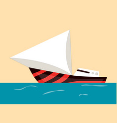 sailing boat water isolated transport icon flat vector image