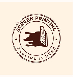 screen printing silk screenprinting logo emblem vector image