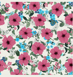 seamless pattern with different wildflowers vector image