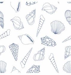 Seashells seamless pattern for design vector