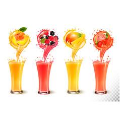 set fruit juice splash in a glass strawberry vector image