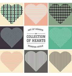 set hipster hearts art vector image