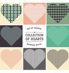 Set of hipster hearts art vector