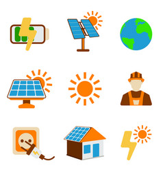 Set of solar energy icon energy label for web on vector