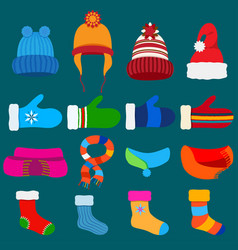 set warm winter clothes vector image