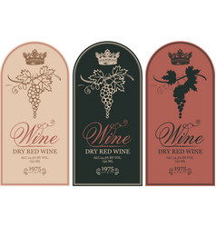 set wine labels with grape bunches and crowns vector image