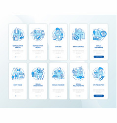 Sexual education blue onboarding mobile app page vector