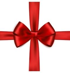 Shiny red satin ribbon on white background vector image