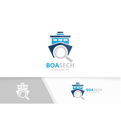 ship and loupe logo combination boat and vector image